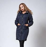 Женское пальто.  Демисезонное пальто. Модное пальто. Теплое пальто. Новая коллекция 2018. Цвет темно синий
