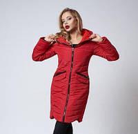 Женское пальто.  Демисезонное пальто. Модное пальто. Теплое пальто. Новая коллекция 2017-2018. Цвет красный