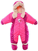Детский комбинезон трансформер для новорожденных зима (малиновый с розовым - 1)