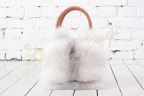 Кожаная сумка с мехом песца