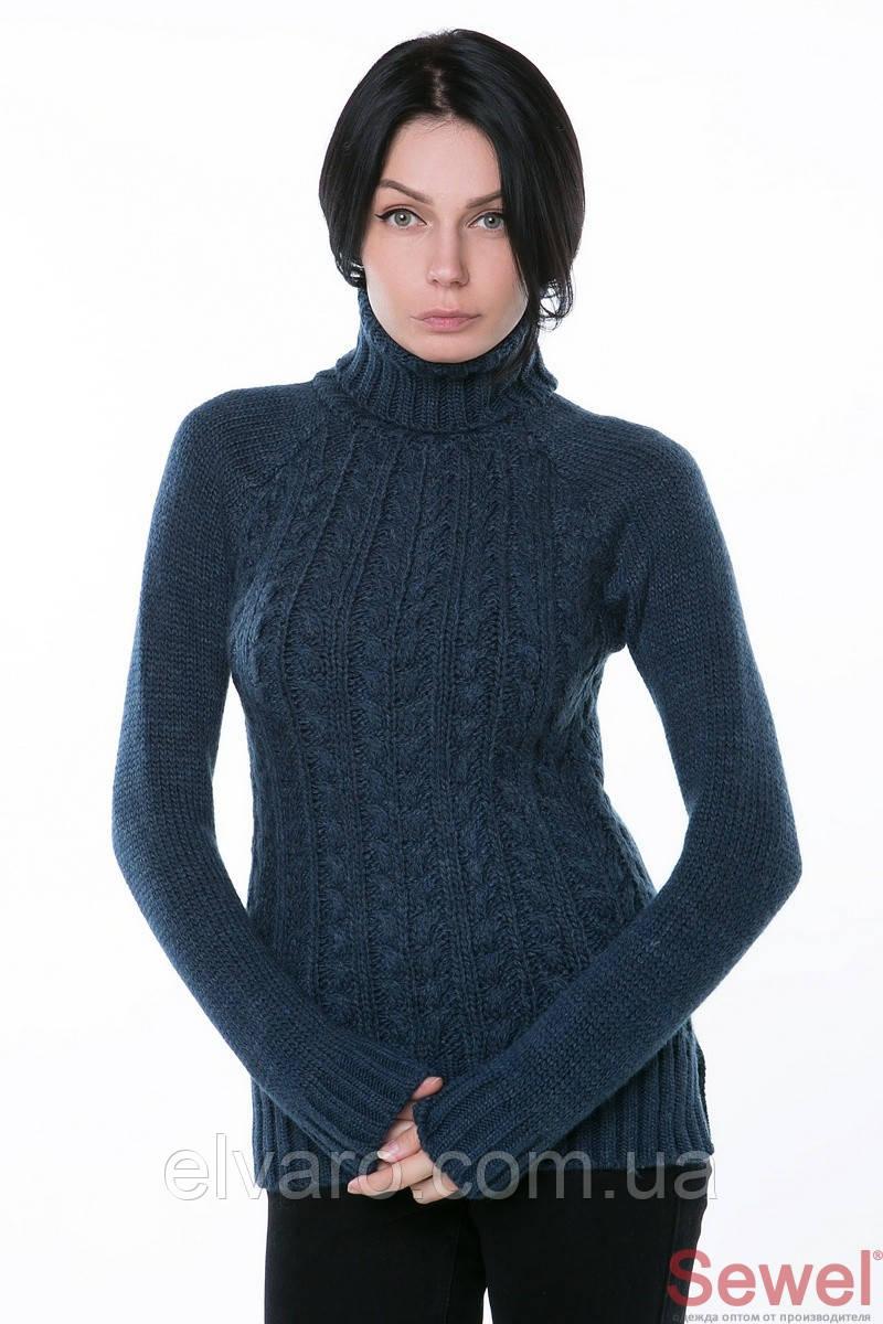 Теплый женский вязаный свитер полушерсть джинс: продажа ...