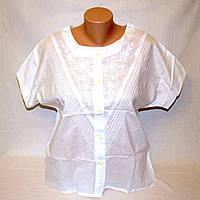 Блузка вышитая белая с коротким рукавом, хлопок, р.44