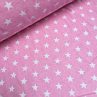 Фланель для постели звезды 2см на розовом фоне  №780