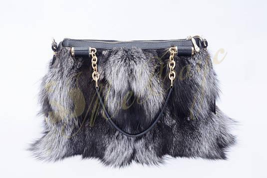 Кожаная сумка с мехом чернобурки