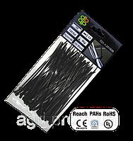 Стяжки кабельные пластиковые чёрные UV Black 7,6*250мм (100шт)