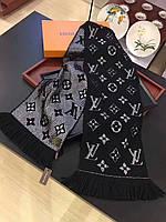 Теплый вязаный шарф в стиле Louis Vuitton Monogram Logomania