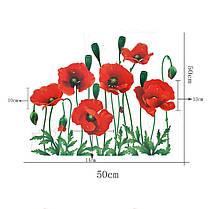 Наклейка на стену, виниловые наклейки, стикеры красные маки цветы (лист50*70см), фото 3