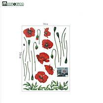 Наклейка на стену, виниловые наклейки, стикеры красные маки цветы (лист50*70см), фото 2