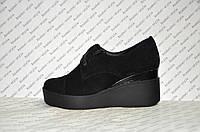Туфли на танкетке женские из натуральной замши черные