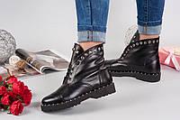 Ботинки VENETA.На шнурке. Зима.Натуральная кожа. Каблук 2,5см,спереди 2см.Р-р 36-40 Цвет черный