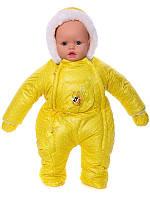 Зимний комбинезон для новорожденных (0-6 месяцев) желтый горошек