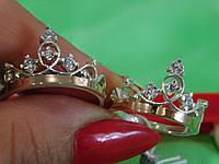 Кольцо корона, серебряное с золотой пластиной