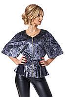 Бархатная женская блузка №401 (серый)