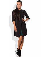 Черное платье с эффектом двуслойности и брошкой