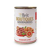 Консервы для собак Брит (Brit Boutiques Gourmandes ChickenBits&Pate), кусочки курицы в паштете, 400 гр