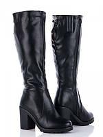Модные высокие женские черные сапожки (р36-40)