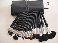 Набор кистей для макияжа 24 штуки  черные с серебром с маркировкой