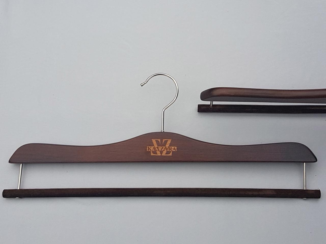 Плечики длиной 41 см вешалки деревянные для брюк и юбок Mainetti Kazara коричневого цвета для брюк и юбок