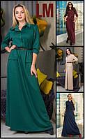 Платье Ануша M,L,XL женское длинное осеннее весеннее на работу батал большой размер черное зеленое в пол макси