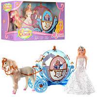 Карета 28911B с лошадью и куклой, лошадь ходит, звук.