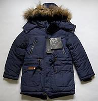 Теплая удлиненная куртка на мальчика 104 - 128