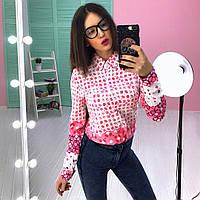 """Рубашка женская модная с длинным рукавом штапель """"Цветочные узоры"""" 3 расцветки Rb183"""