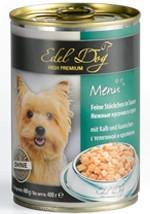 Консервы для собак Эдель Дог (Edel Dog), телятина с кроликом, кусочки в соусе, 400гр
