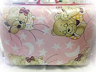 """Защита на кроватку """"Мишки спят"""" розовая"""
