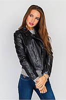 Кожаная короткая демисезонная куртка - косуха Черный