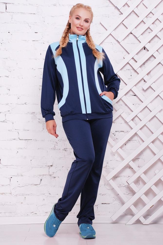 Женский батальный спортивный костюм Сюжет / размер 52-62, цвет синий+бирюза