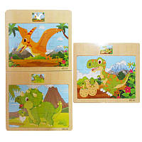 Деревянная игрушка Пазлы ZRP-013-16 Динозаврики