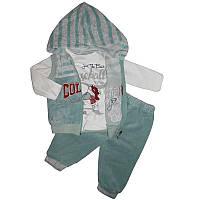 Костюм для мальчика 68-86  кофта+жилет+штаны арт.529