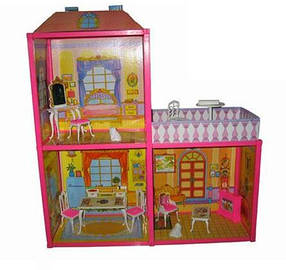 Домик для куклы, 2-ва этажа, веранда, мебель, в кор. 60х8х34 /12/