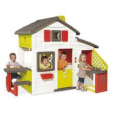 Игровые площадки «Smoby» (810201) домик для друзей с чердаком и летней кухней с функцией подачи воды