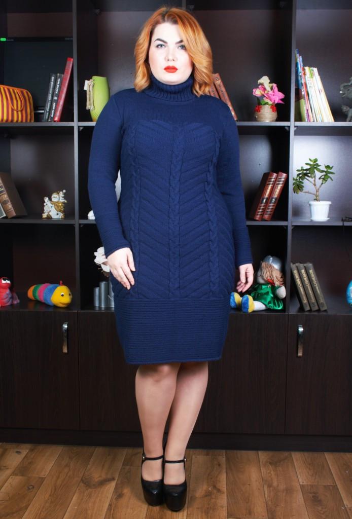 В'язана жіноча сукня з косами Німфа темно-синє