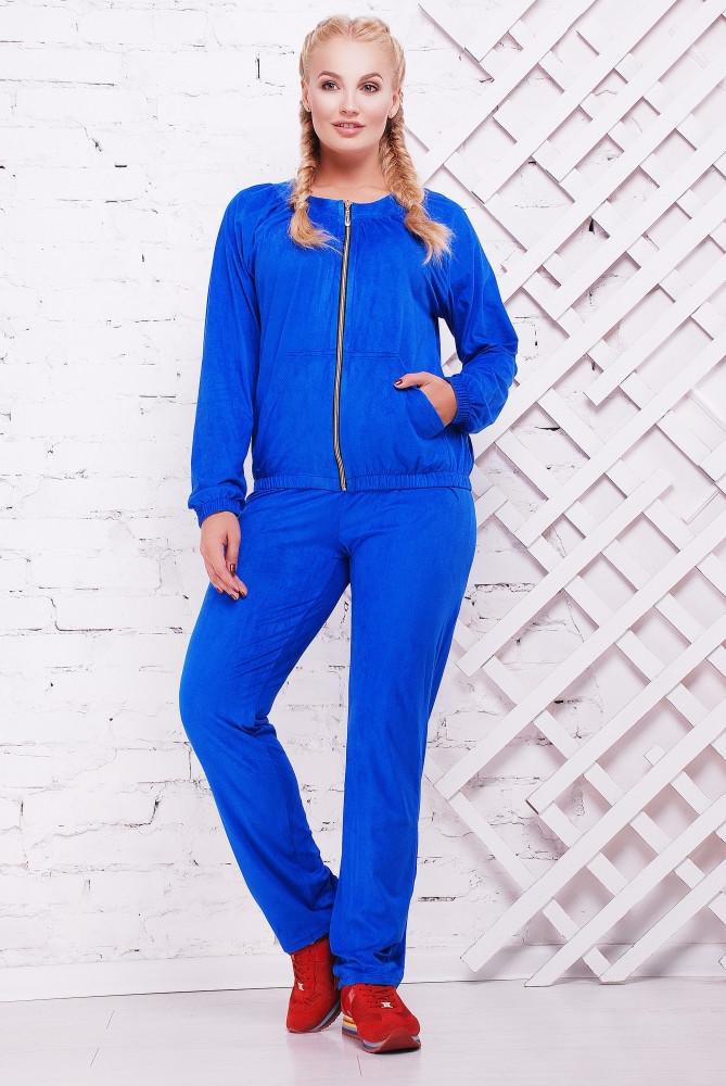 Женский стильный спортивный костюм Муза / размер 52-62, цвет электрик