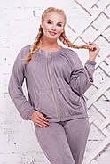Женский стильный спортивный костюм Муза / размер 52-62, цвет светло серый, фото 2