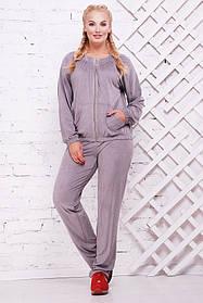 Женский стильный спортивный костюм Муза / размер 52-62, цвет светло серый