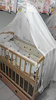 Постельный комплект белья для детской кроватки с балдахином