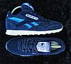 Кроссовки женские синие Reebok Classic нат. замша реплика, фото 6