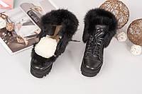 Женские зимние черные ботинки с мехом кролика натуральная кожа