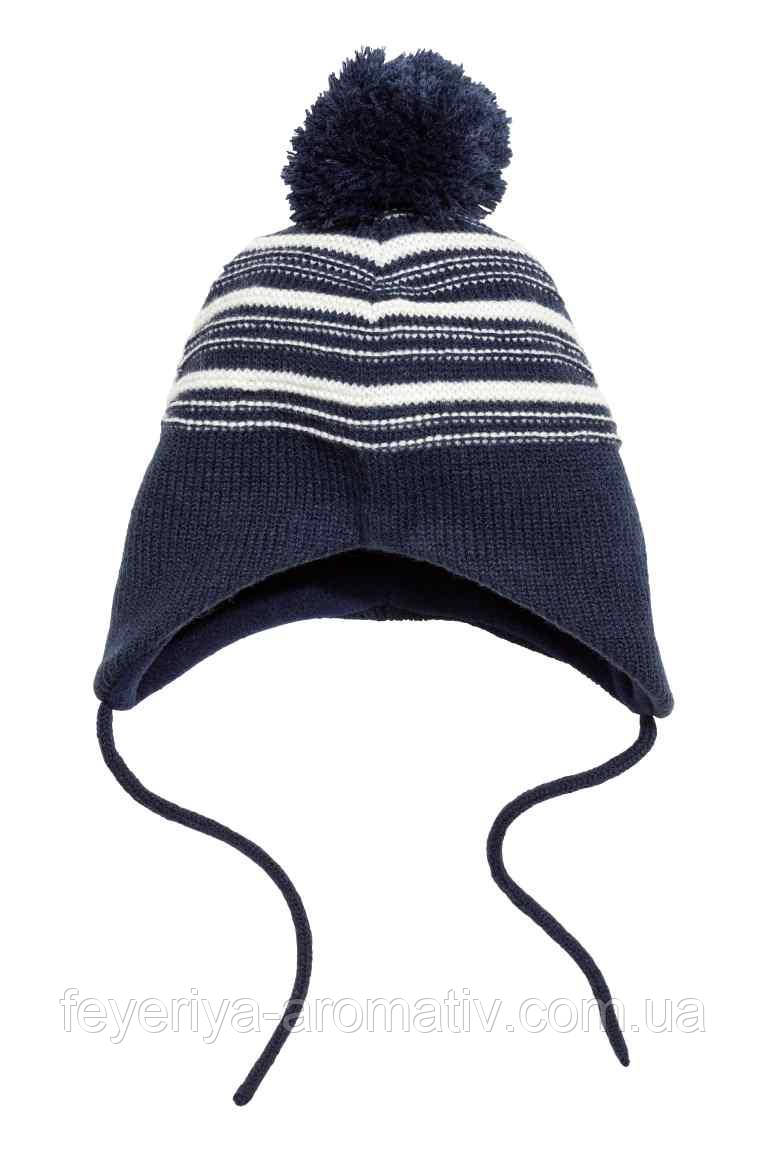 Зимняя вязанная шапка на флисовой подкадке H&M для мальчика 1-2Y