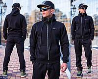 Мужской черный спортивный костюм с  капюшоном. Арт-13001