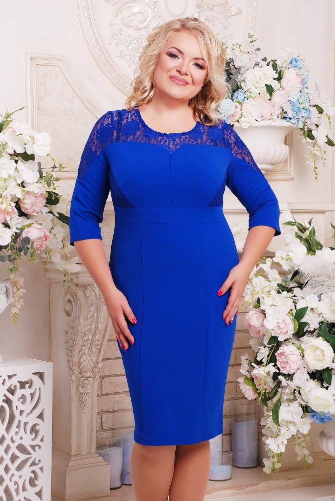 Женское прилегающее платье Мая размер 52-62 / цвет электрик