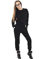 Теплый женский спортивный костюм трехнитка на флисе М-L черный