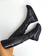 Женские зимние черные сапоги-ботфорты на платформе натуральная кожа