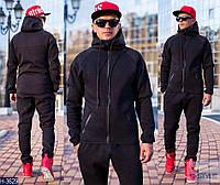 Мужской черный спортивный костюм с замком на кармане и  капюшоном. Арт-13002