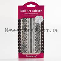Кружево черное для дизайна ногтей разные 12 шт/уп., фото 1