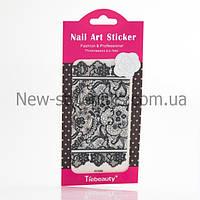 Кружево черное для дизайна ногтей, 12 шт/уп.