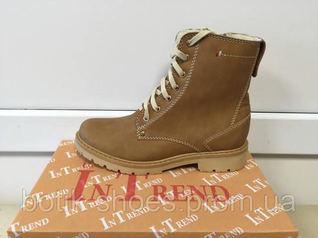 Зимние ботинки женские кожаные In-Trend 2328-1 RN коричневые